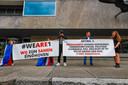 Demonstratie tegen Pegida op het Stadhuisplein in Eindhoven