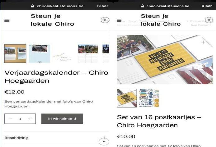 Een verjaardagskalender en postkaarten bij Chiro