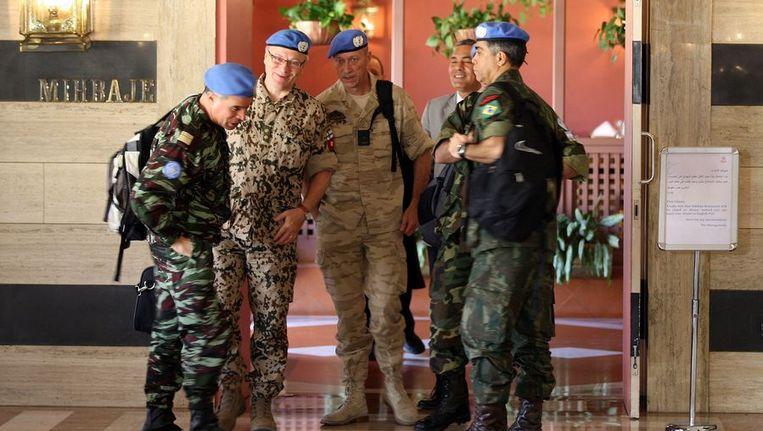 De eerste zes waarnemers kwamen zondagavond in Damascus aan. Beeld afp
