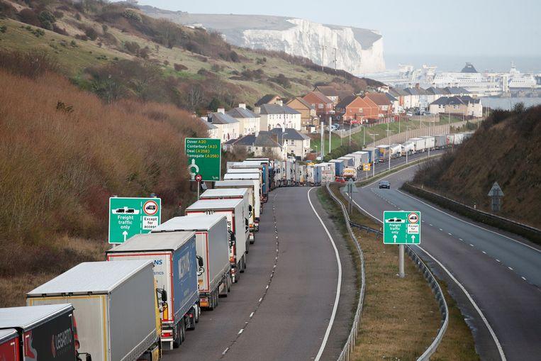 Vrachtauto's wachten op toegang tot de Kanaaltunnel nabij het Britse Folkestone, om de oversteek naar Europa te maken. Beeld REUTERS