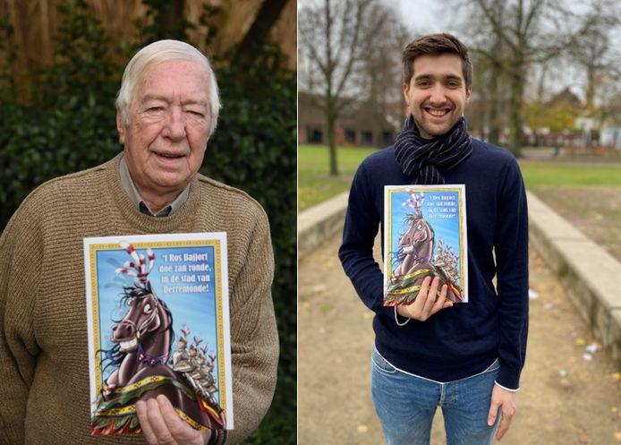 Emiel Vermeir en kleinzoon Matthias stelden de brochure vol cartoons rond Ros Beiaard samen.