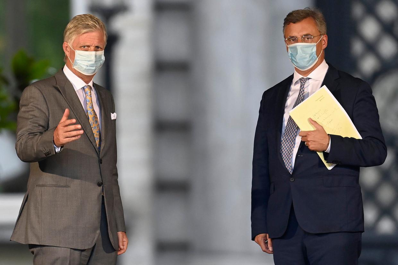 CD&V-voorzitter Joachim Coens vorige week op bezoek bij koning Filip. Beeld Photo News