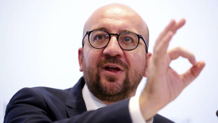 Charles Michel tijdens een persconferentie over de federale begroting. Beeld belga