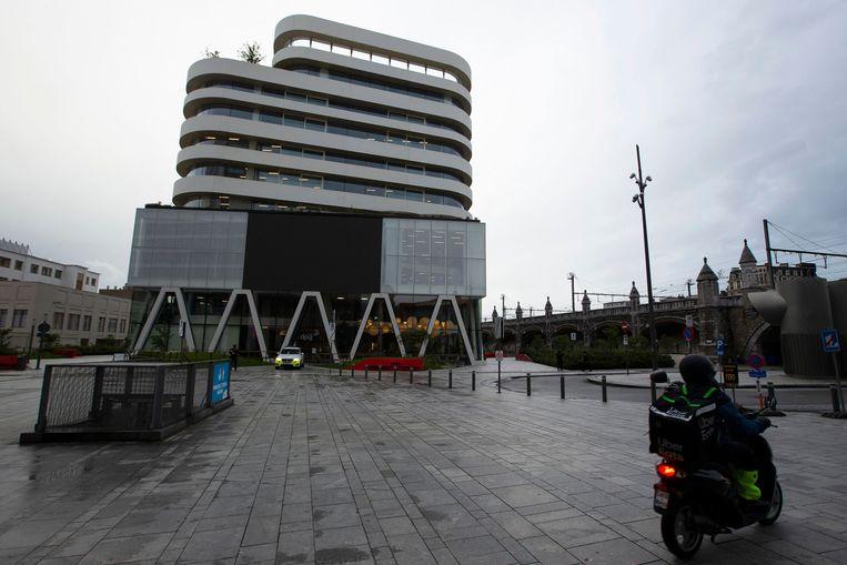 Het hoofdkantoor van DPG Media in Antwerpen.  Beeld AFP