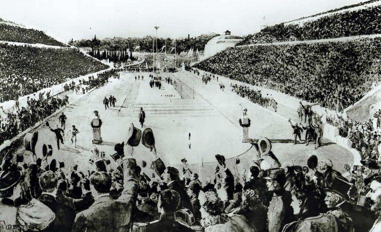 Op de tekening is de overwinning van de Griek Spiridon Louis op de marathon in 1896 in Athene weergegeven.  Beeld HH, AFP