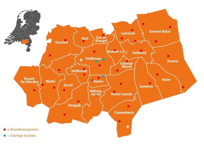 Het werkgebied van de Veiligheidsregio Brabant-Zuidoost.