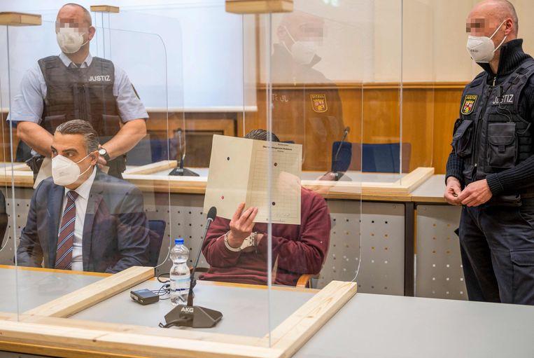 Eyad A. tijdens de rechtzaak in Koblenz. Beeld AFP