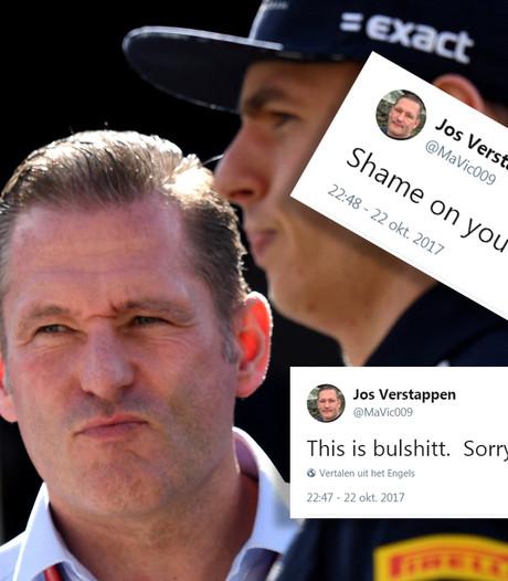 Jos Verstappen woedend: 'Dit is bullshit, FIA ga je schamen'