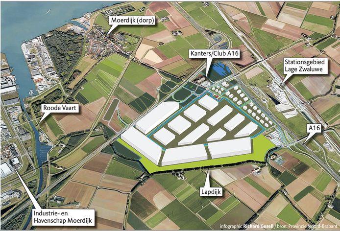 Zo moet het er over een aantal jaren uitzien in de oksel tussen de A16 en A17. Een Logistiek Park Moerdijk LPM vol bedrijvigheid.