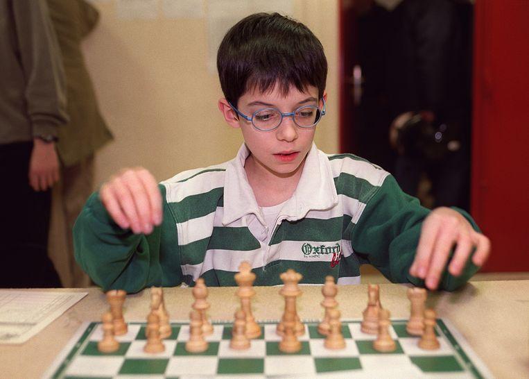 De Fransman Maxime Vachier-Lagrave als jeugdig talent in 2000, zeven jaar voor de partij tegen Fontaine. Beeld AFP