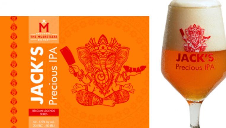 De Hindoe-god Ganesha wordt op Jack's Precious IPA afgebeeld en dat staat Hindoes tegen. Beeld themusketeers.be