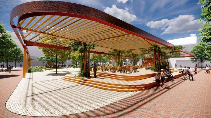 Het vernieuwde marktplein in Hengelo, met een rooftopbar.