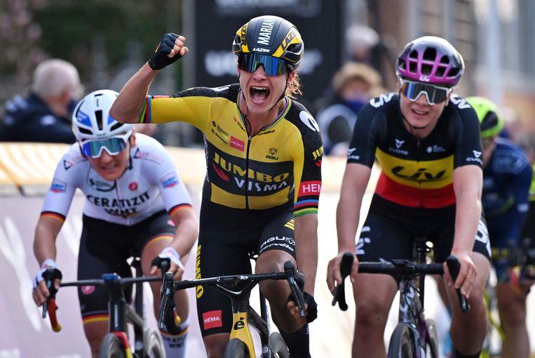 Marianne Vos vlak na haar overwinning. Beeld AFP
