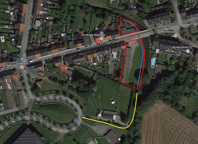 De blauwe en gele lijn vormen de nieuwe wandel- en fietsverbinding.