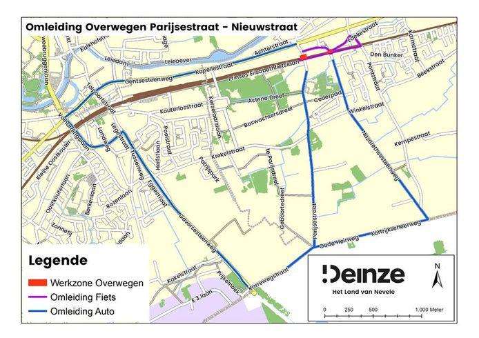 De spooroverwegen in de Parijsestraat en de Nieuwstraat worden volgend weekend afgesloten.