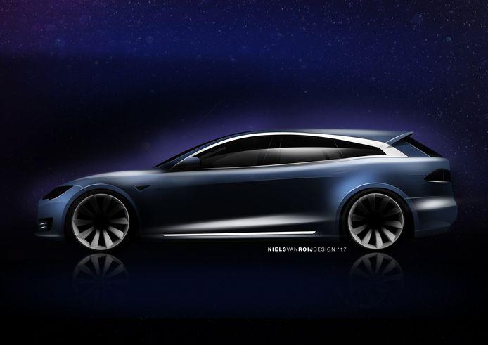 Foto's en schetsen van handgemaakte auto, gebaseerd op de Tesla S