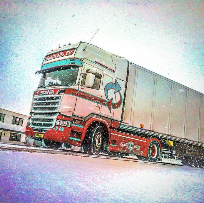 Een vrachtwagen van Koeltrans in Angeren.