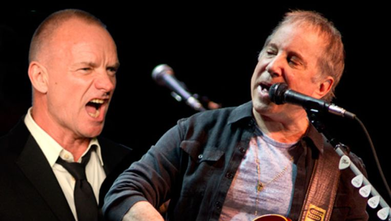 Sting en Paul Simon. Beeld ANP/FOTOMONTAGE MV