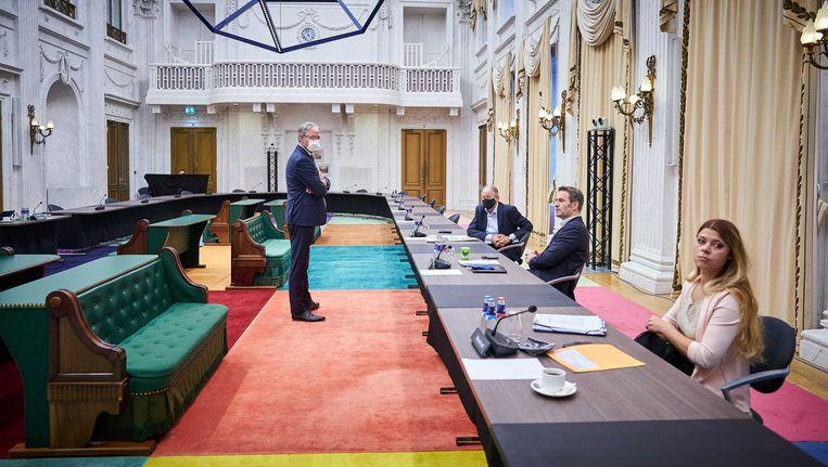 Minister Arie Slob (Basis- en Voorgezet Onderwijs en Media) tijdens het debat met de Tweede Kamer over een aangescherpte wet voor burgerschapsonderwijs.  Beeld ANP