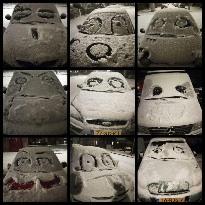 Auto's met sneeuwgezichten.