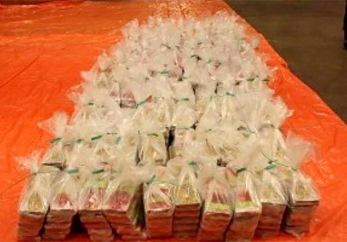 Een deel van de cocaïne die in 2015 in Geleen in beslag werd genomen.