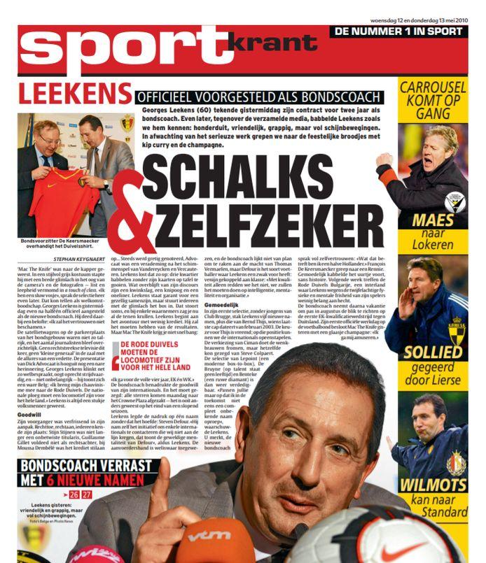 Leekens werd 10 jaar geleden voorgesteld als bondscoach van de Rode Duivels.