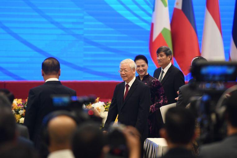De Vietnamese president Nguyen Phu Trong.  Beeld AFP