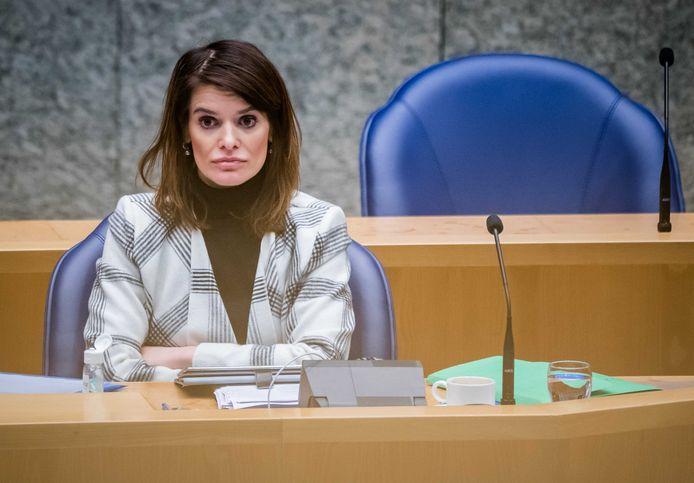 Staatssecretaris Barbara Visser van Defensie (VVD) tijdens het debat over de Defensiebegroting.