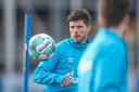 Klaas-Jan Huntelaar tijdens de training van Schalke 04.