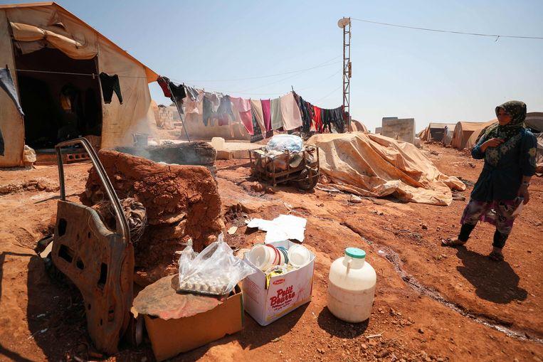 Een Syrische vluchtelinge in een tentenkamp in de provincie Idlib, gelegen in het noordwesten van het land. (11/07/2020)