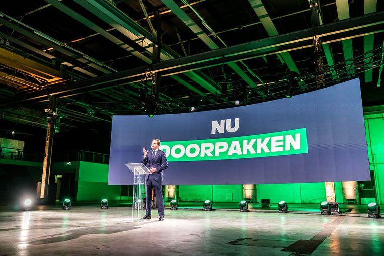Lijsttrekker Wopke Hoekstra tijdens het partijcongres van het CDA in januari. Beeld Rob Engelaar