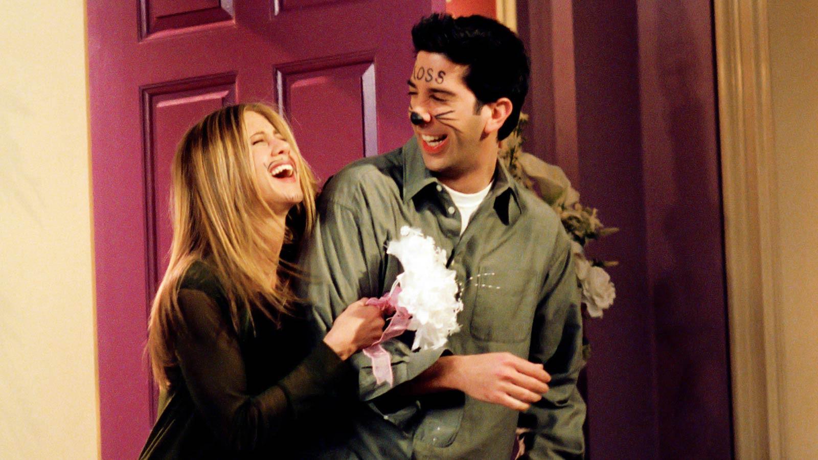 Friends - The One In Vegas: Jennifer Aniston (Rachel) en David Schwimmer (Ross).