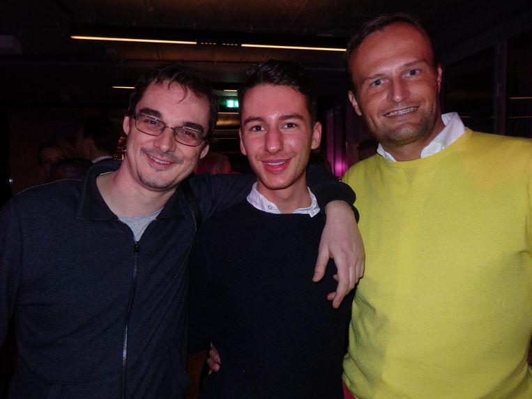 Henk Willem Smits (Quote), fashion-student Tim van Brussel en Hans Prummel (vlnr, De Naamafdeling), die de namen Stadgenoot en Instock verzon, maar geen lekkerder achternaam Beeld Schuim
