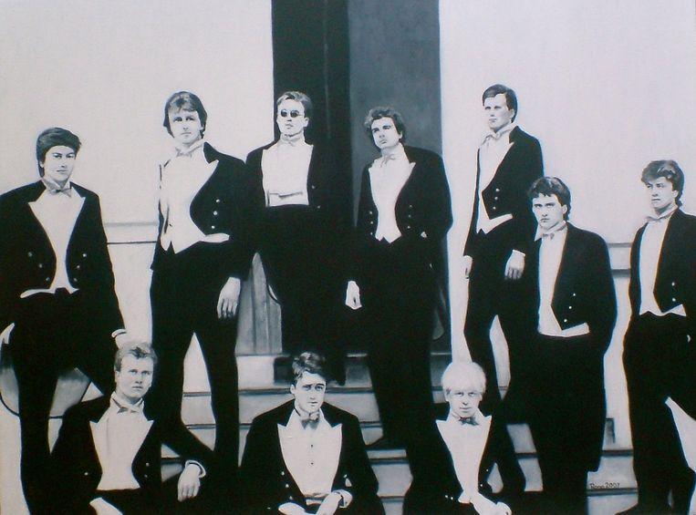 Class of '87, schilderij van Rona Marsden naar de beroemde foto van de Bullingdon Club. Bovenste rij, tweede van links: David Cameron. Onderste rij, rechts: Boris Johnson.  Beeld Rona Marsden