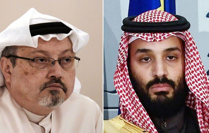 Links de vermoorde journalist Jamal Khashoggi, rechts kroonprins Mohammed bin Salman.