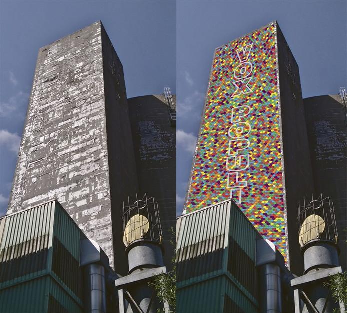 De 'betonnen kathedraal' torent overal bovenuit in Sas van Gent; rechts een artist's impression van hoe de suikersilo er uit kan komen te zien.