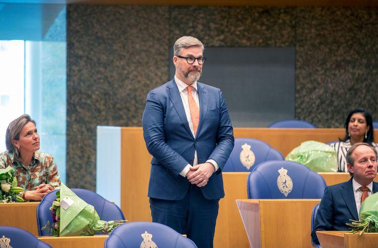 Sidney Smeets wordt beëdigd in de Tweede Kamer. Beeld Werry Crone
