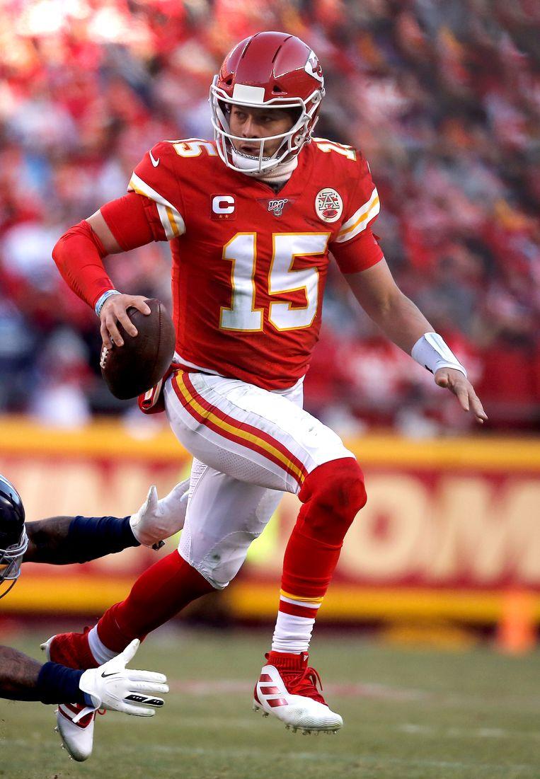 Patrick Mahomes van de Kansas City Chiefs is de eerste zwarte quarterback in de Super Bowl sinds Cam Newton (Carolina Panthers) in 2016. Beeld Getty Images