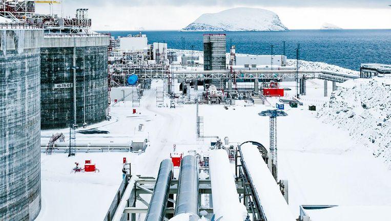 De CO2 gaat door buizen in de Poolzee richting de ondergrondse opslag. Het ijskoude water helpt bij de koeling van het gas. Beeld General Electric/Finn Beales