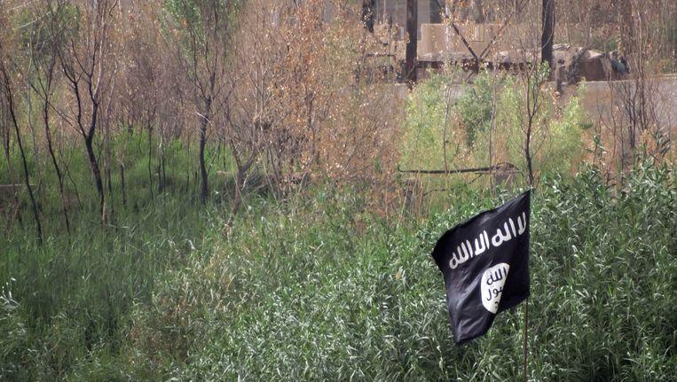 Een IS-vlag in de buurt van Ramadi. Beeld ap