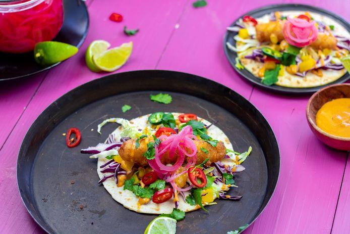 Baja vis tortilla's met chipotle-mayonaise