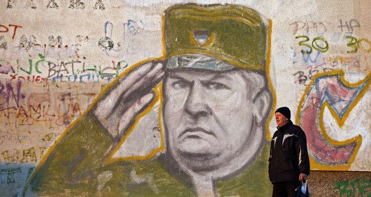 Een muurschildering van Ratko Mladic in een buitenwijk van de Servische hoofdstad Belgrado.  Beeld EPA