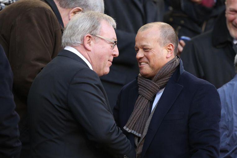 Verhaeghe was kritisch voor het financiële beleid onder CEO Steven Martens, toen François De Keersmaecker (links) nog voorzitter van de voetbalbond was.  Beeld BELGA
