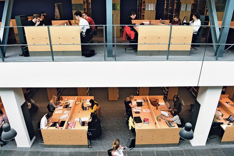 Studenten in de universiteitsbibliotheek in de Maastricht University. Beeld Marcel van den Bergh