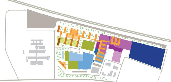 Platte grond met intekening (blauw) van nieuwe uitbreiding ASML.