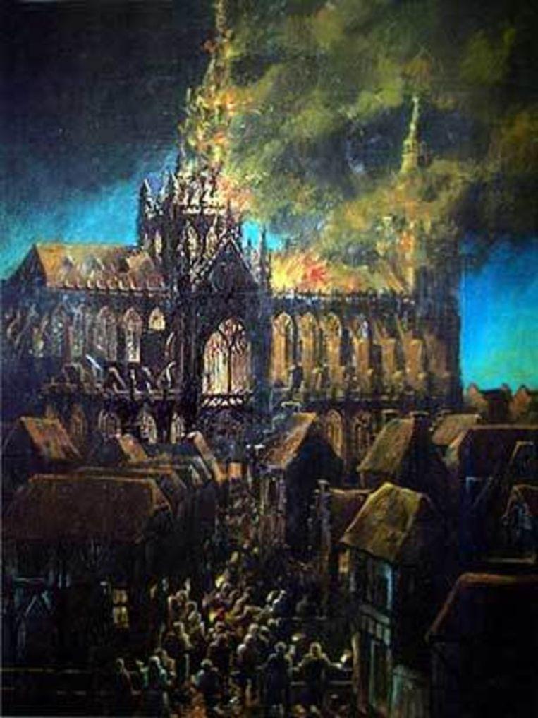 Geschilderde voorstelling van de torenbrand, Hans van de Ven. Beeld Stadsarchief Den Bosch
