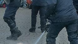 Pepperspray tegen activisten die al op grond liggen