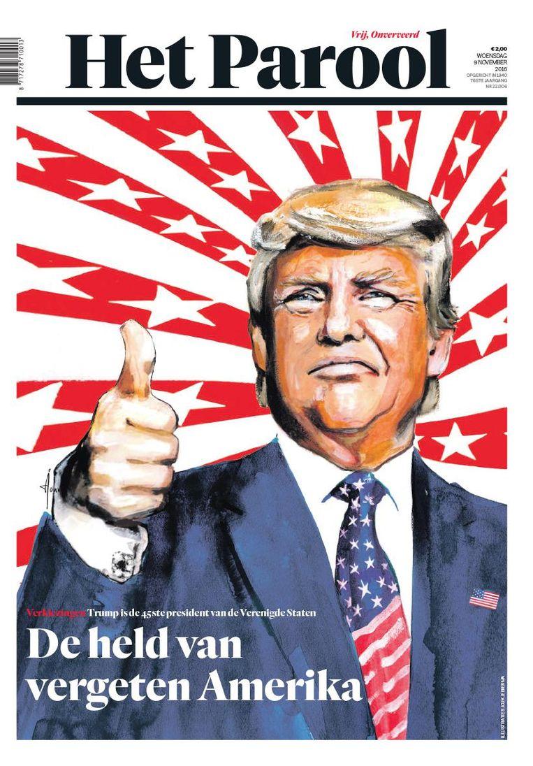 De voorpagina van Het Parool op 9 november 2016. Beeld Sjoukje Bierma