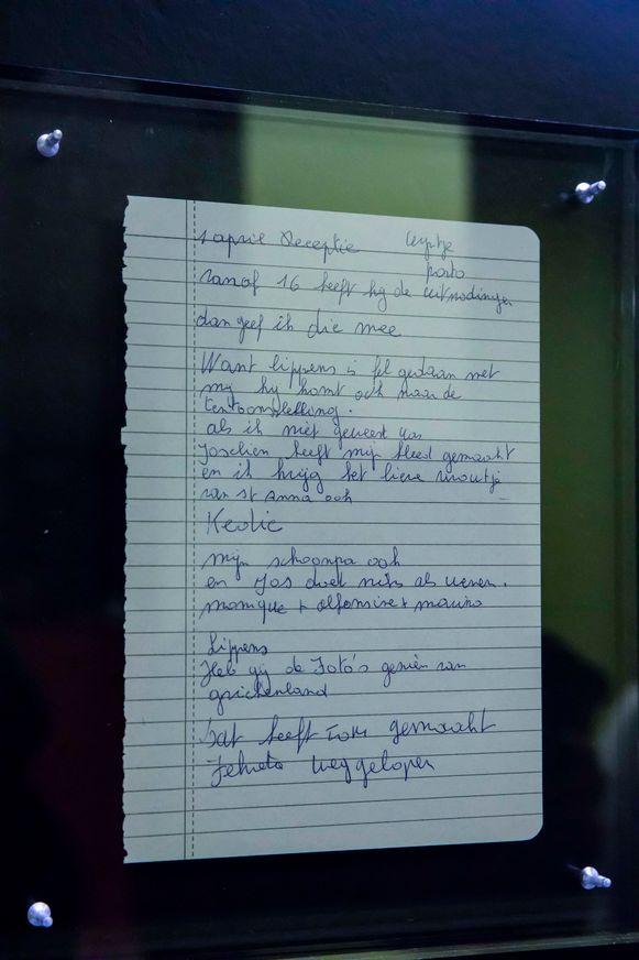 Een van 19 handgeschreven teksten van Nicole, een onderdeel van het kunstwerk.