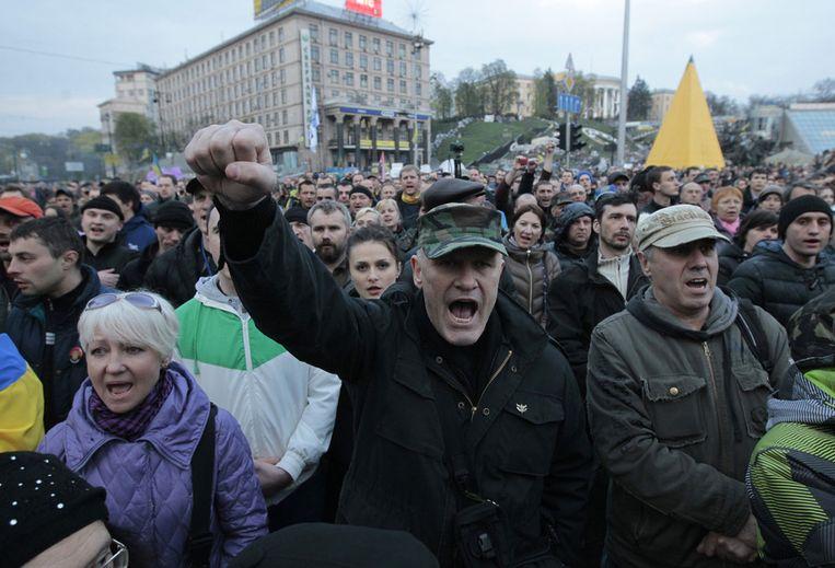 Het Onafhankelijkheidsplein in Kiev op maandag. De betogers zijn boos op de regering die volgens hen te afwachtend reageert op de crisis in het oosten van het land. Beeld ap